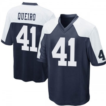 Youth Kyle Queiro Dallas Cowboys Game Navy Blue Throwback Jersey